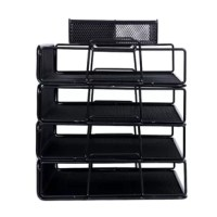 Wire mesh desk organizer has 5 pieces pack including 4-tier stackable paper sorter and accessories organizer with 4 compartments for office, school, study.