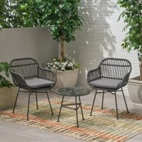 Give your backyard or patio space a splash of sleek modern design that brings excellent style and outstanding function to your outdoor décor. Featuring a delightful hand-wrapped look, this chat set provides a timeless style to your home while providing ultimate comfort. Consisting of a steel frame and rattan material, this charming set is made to last with its weather-resistant construction and durable structure. Sure to become your favorite spot to relax, this set will last you for years to...