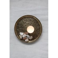 Use this 12.75 inch embossed metal tray for serving drinks or desserts at your next social event.  The color is amazing with its antique brass finish.  It also makes a gorgeous base for displaying candles or figurines.