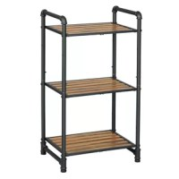 Add a sophisticated storage space to your existing decor setting by bringing in this industrial style storage rack, featuring 3 tier adjustable shelves and rests on tubular frame. Incorporated with polyresin slats, it will serve the best of its purpose.