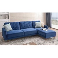 This stylish yet multi-functional convertible sectional featuring diamond stitch tufting will be the focal point of any room in your home. The sofa and chaise can each be used separately as individual seating or bed units. They can also be put together to maximize the sleeping area to form a spacious bed.