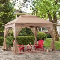Instantly create an outdoor gathering spot for family and friends away from the glaring sun and pesky insects. This 11 ft. x 11 ft. soft-top, pop-up gazebo by the world's leading ready-to-assemble outdoor structure maker, creates a perfect affordable and portable outdoor setting. Keep cool in the vented shade supported by the durable rust-resistant powder-coated steel frame. The weather-resistant fabric top is designed to withstand the outdoor elements while the transparent mesh panel...