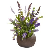 Show off the beauty of wildflowers with artificial arrangement boasting countless sprays of lavender, showcasing bright vivid florals stemming from lifelike foliage. Standing 14in. high from a stone brown vase, this enchanting fake arrangement will instantly add color to any dark space. About One Allium Way Inc. - For over 75 years, One Allium Way Inc. has been providing conscientious consumers with beautiful alternatives to natural decorations. Employing and advised by naturalists who...