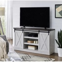 This TV stand features sliding barn-door design, and open adjustable shelf space in the middle. The cable management cutouts will keep your audio and video cables clean and tidy. Its ranch rustic style would perfectly match your current decor. Elevate your living room as well as your TV set with this beautiful TV stand.