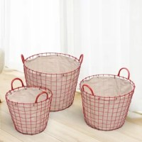 These simple, stylish baskets are the perfect containers for storage or laundry. Each basic, square-patterned iron frame is lined with faux linen that snaps over the wide, iron rim. These baskets have a multitude of uses and look great! They make a wonderful wedding, anniversary or housewarming gift.