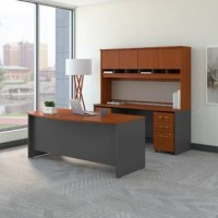 Spread out and save space with this Desk. Surfaces offer ample room for your computer, phone, assignments and more, while the thermally fused laminate finish resists scratches and stains. Feed cables through wire management grommets in the Desk surface and modesty panel to keep them out of your way. The Mobile File Cabinet rolls wherever you need it or fits conveniently underneath Desk to conserve floor space. Clean lines, hardware and extended modesty panels provide a professional appearance....