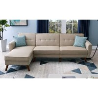 This stylish yet multi-functional convertible sectional featuring button tufting will be the focal point of any room in your home. The sofa and chaise can each be used separately as individual seating or bed units. They can also be put together to maximize the sleeping area to form a spacious bed. The chaise seat also lifts and opens up to a storage unit to enhances your storage space.