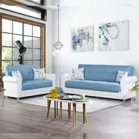 As the perfect space-saver sofa for compact modern lifestyle homes, this convertible sofa bed is for you! Solid design, patterned throw pillows, and leatherette arms offer a clean-lined handsome flair. This brilliant design also features hidden storage for your extra bedding or even cluttered toys of your kids & pets. To unfold this sofa into a full-size sleeper, simply lift the seat part and click&clack the backrest allowing for a flat position.