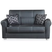 Effortlessly bring fashion and function into your living room with the simple addition of the love seat. As the perfect space-saver sofa for compact modern lifestyle homes, this convertible love seat is for you! Solid design, patterned throw pillows, and leatherette arms offer a clean-lined handsome flair. This brilliant design also features hidden storage for your extra bedding or even cluttered toys of your kids & pets. To unfold this comfortable love seat, simply lift the seat part and...