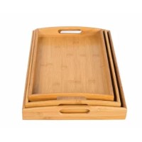 The 3 pc bed tray is the perfect set of trays for eating breakfast in bed. The trays cut out handles make it easy to carry from the kitchen to the bedroom. Made from sustainable bamboo making it friendly to the environment.
