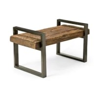 Plow and Hearth Reclaimed Wood And Iron Outdoor Bench is crafted from shorea wood railroad ties, some 100 years old or more. This dense, durable wood is proven to stand the test of time in the outdoors. Each exclusive, eco-friendly bench is unique, with characteristic natural distressing marks. The simple iron frame is powder coated in a rustic bronze finish. Perfect for patio or out in the yard.