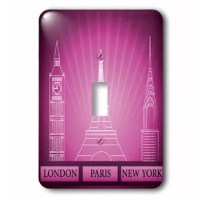 London, Paris, and New York Historical Structures In Purple Light Switch Cover is made of durable scratch resistant metal that will not fade, chip or peel. Featuring a high gloss finish, along with matching screws makes this cover the perfect finishing touch.