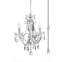 3 - Light Candle Style Classic / Traditional Chandelier with Acrylic Crystal Accents
