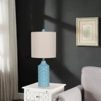 Elegant and stylish: this unique ceramic table lamp features a textured quilted patterned body with aqua blue or white finish and burlap shade. This attractive light is the perfect addition to your living room, bedroom, family room, dorm room, home office, craft room, kitchen or any open concept living space. Great for apartment living or DIY home remodeling projects and suits a variety of styles including transitional, coastal, modern, contemporary, global and traditional decor.