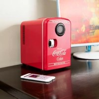 The ultimate pairing, mini cooler with built-in Bluetooth speaker - This Coca-Cola 6 Can Retro Cooler with Bluetooth Speaker is the ideal personal cooler. It features a built-in speaker and is Bluetooth enabled to pair with your mobile device. Sync your Bluetooth-enabled device with this cooler and turn on your music. This mini cooler features efficient and reliable thermoelectric cooling technology. Stock it up with your favorite drinks, or use it while you are busy working or studying. This...