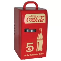 Retro mini fridge with vintage Coca-Cola design and colors - This unique Coca-Cola 18 Can Retro Electric Cooler is the most popular personal fridge in our Coca-Cola line and a must-have for any Coke enthusiast or collector. The stylish design and vintage colors make it a great accessory for any home, office, or den. Large 22-liter capacity fits up to 18 Coke cans at once - Don't be fooled by its compact and lightweight design. The Coca-Cola retro beverage cooler uses thermoelectric cooling to...