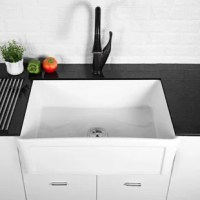 Fireclay farmhouse sink, exclusive noise defends sound dampening for superior protection against noise from dishwashing and waste disposal. With the modern design, experience the high-end sinks and enjoy the easy lifestyle.easily solve the kitchen's blockage.