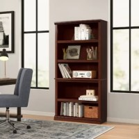 Ensure your room reflects your personal style with this clean-lined bookcase, a classic design that's perfect for putting your favorite books, framed photos, and artful accents proudly on display. Crafted in the USA, this piece is made from manufactured wood in a neutral woodgrain stain that blends easily with a variety of color palettes and aesthetics. Three adjustable shelves in the center accommodate items of all sizes. Assembly is required.