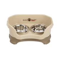 TheNeaterFeeder, mess proof pet bowl,  is designed with protective walls to contain splashes, spills, and slobber from an inadvertent kick or messy pet. This revolutionary feeding system holds spilled food in an upper reservoir while spilled water flows down a gentle slope through a filtering system and drains into a lower reservoir that can safely contain more than an entire bowl of spilled water, keeping it off the floor until you are ready to dispose of it. Keeping spilled water off the...