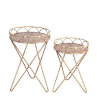 Set of 2 natural bamboo accent tables, 16 x 16 x 24.5, 14 x 14 x 20.5.