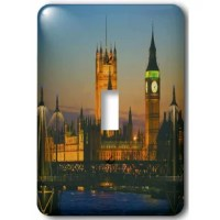 Big Ben, London, England dusk Light Switch Cover is made of durable scratch resistant metal that will not fade, chip or peel.  Featuring a high gloss finish, along with matching screws makes this cover the perfect finishing touch.