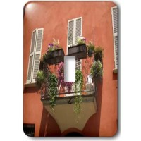Parma, Italy terrace, terracotta house, pink and purple flowers Light Switch Cover is made of durable scratch resistant metal that will not fade, chip or peel.  Featuring a high gloss finish, along with matching screws makes this cover the perfect finishing touch.