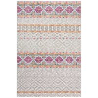 Who says artful appeal has to be limited to what's hanging on your walls? Whether rolling out in the living room or your teen's restful retreat, this eye-catching area rug acts as both a foundation and a focal point. Made in Turkey, it is power-loomed from polypropylene with jute, polyester, and cotton. This piece lends a pop of color and pattern to your ensemble, showcasing a geometric motif and splashes of pink and orange on its gray and ivory background.