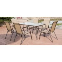 This set features 1 steel edge and steel frame side table and 6 steel sling chairs. They are built to last for many years in the various outdoor elements and the sun's rays.