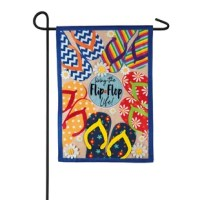 This garden size linen flag features a cream background, blue border, and a variety of colorful flip flop with daisy flower accents. It reads: