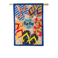 This linen house flag features a cream background, blue border, and a variety of colorful flip flop with daisy flower accents. It reads: