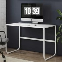This computer desk is the definition of clean lines and minimalist design with its glossy white tabletop and elegant rounded metal legs. We've designed this sturdy, well crafted desk for your home office use. It's also the perfect writing table where you can display decor, a statement lamp, and fresh succulents. We've also got you covered with six adjustable floor foot protectors.