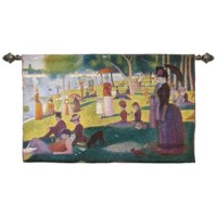 Sunday afternoon on la Grande Jatte by Georges Seurat tapestry wall hanging invitation of elegance contrasting pigments are woven together in this wall hanging with small, patchy brushstrokes, whereas in the mural-sized park scene which debuted two years later at the 1886 impressionist exhibition Seurat used tighter, dot-like dabs of paint, a technique which came to be known as pointillism (from the french word point, or dot). He preferred the term divisionism, the principle of separating color...