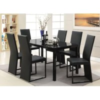 The table set creates an inviting space to entertain family and friends. It has a dark tempered glass tabletop with black metallic legs. The chairs are upholstered in faux leather to create an elegant look in all settings. In fact, thanks to this contemporary design, we know that it will blend in well with any house décor, regardless of your past furniture choices!
