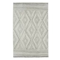 A modern abstract diamond lattice motif is rendered in gray over a cream-colored base in the contemporary design of this Area Rug. This area rug is ideal for living rooms, offices, kitchens, bedrooms, dining areas, and more. Sink into a pillow of cozy plush shag, created with a dense high-low texture for rich dimensionality. Woven with exclusive ecofriendly Overstrand, a premium synthetic yarn created from post-consumer recycled plastic bottles, this earth conscious design proves you don't...