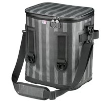 Prepare for a day on the move with this large capacity cooler featuring a padded and adjustable shoulder strap for carrying convenience. The durable, gray striped polyester exterior is leakproof and waterproof. The interior is aluminum foil-lined and insulated to keep everything inside hot/cold. Full opening zippered top allows for easy visibility and accessibility to contents. This compact grab-and-go cooler is great for picnics, road trips, camping or canoeing.