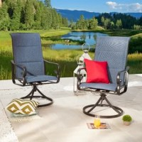 This set includes 2 single chairs, with durable powder-coated steel frames and PVC-coated polyester fabrics. You can enjoy your leisure time by sitting the chairs in the garden and yard. The set is water-resistant. PVC-coated polyester seats are easy to clean and scratch-resistant.