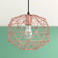 With a geometric silhouette and on-trend rose gold finish, this pendant is sure to grab glances in any room of your home! Crafted from metal, its cage-like shade conceals a single bulb to cast a bright, inviting glow throughout your space, while the finish lends this luminary a look that puts it in league with modern spaces. It's compatible with a dimmer switch, so you can set the ambience of your space with ease.