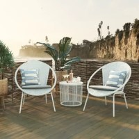 The Sia 3 Piece Bistro Patio Set is perfect for a wine night under the stars with your bestie. With a durable round, steel frame construction, this table, and chairs are woven in white wicker with a weather-resistant finish. Designed with you in mind, the chairs are topped with a light gray cushion for comfort, and the table is topped with glass for convenience.