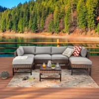 This set is fully covered with PE wicker, which is durable and water-resistant, weather-resistant and easy to clean. The visual effect resembling natural rattan makes people feel as comfortable as being in nature. The thick water-resistant seat cushions bring people a comfortable sitting and lying experience. The light and smooth aluminum-plastic plate table is durable and light. It is the best choice for a garden and backyard get-together. The table is crafted from iron and coated in a...