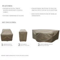 Looking to protect your outdoor furniture when the weather worsens or the seasons change? Turn to covers like this 5-piece set! Each cover is crafted from water-, weather- and UV-resistant fabric with reinforced seams, and the set includes covers designed to protect an armless sofa, two cup tables, and two curved armless sofas. And with a drawstring closure, it's easy to tighten this piece over your furniture and keep it secure from rain, snow, and dirt all year long.