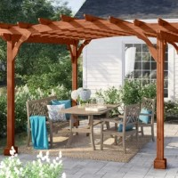 This unique cedar 12 Ft. W x 10 Ft. D Solid Wood Pergola stands on laminated posts with decorative post skirts to cover the anchor brackets (included). The three-piece arched joists span across the side and the purlins span. Each intersection is notched to lock the top together to resist warping. The dual-ply header carries the roof and keeps the pergola looking its best. Upgrade to our stained Canyon Brown made of treated Southern Yellow Pine, ensuring this structure will last against the...