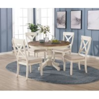Bring a little of the cozy country farmhouse to your dining room or kitchen with this Cierra 5-Piece Dining Set. Combining a weathered antique blue and coffee finish with intricately carved legs, this set is elegant and rustic at once. The round table has a thick, graceful pedestal with an X-shaped base for stability. Its chairs offer country-styled X-shaped backs.