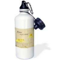 This 21 oz stainless steel water bottle features a flip-up spout with removable straw.  High gloss image printed directly to a white glossy exterior surface.  The image on both sides. The color will not run or fade with use. Hand washing recommended.