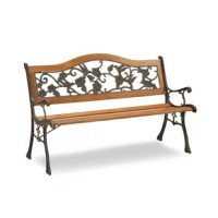 Unwind among the blooming botanicals or simply accent your alfresco space with this timeless garden bench. Brimming with classic charm, this bench is framed by cast iron and features embellished details and elegant openwork floral details. The seat is crafted of slatted hardwood, then finished in brown for versatile appeal. This piece is weather-resistant, so it can stand up to damage from natural sunlight and rain. Try setting it on the patio topped with a few patterned pillows for a cozy spot...