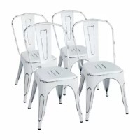 These stylish modern matte metal chairs ideal for kitchen, dorm, shop, and bar.