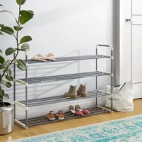This 4 Tier 24 Pair Shoe Rack is the perfect organizational product for any home! Constructed from sturdy high-quality plastic, this shoe rack is a durable and long-lasting storage solution. It's a great space saving item for any house, dorm, or apartment and is an excellent option to keep your entryway, hallway, bedroom or bathroom neat and clutter free!