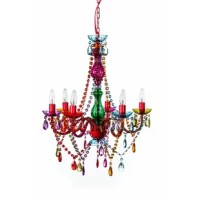 6 - Light Candle Style Classic / Traditional Chandelier with Acrylic Crystal Accents