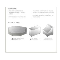 Looking for a way to protect your outdoor furniture when the seasons change or the weather worsens? This 6-piece set of covers is a great way to keep your patio or deck furniture safe whenever it's not in use. Including covers for everything from cup holder tables to curved sofas, it arrives ready to defend any compatible outdoor set. Plus, since it's designed to resist weather, water, and UV light, this set is ready to stand up to the elements. Each piece is features a tie fastener to secure...