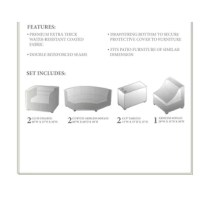 Looking for a way to protect your outdoor furniture when the seasons change or the weather worsens? This 8-piece set of covers is a great way to keep your patio or deck furniture safe whenever it's not in use. Including covers for everything from cup holder tables to club chairs, it arrives ready to defend any compatible outdoor set. Plus, since it's designed to resist weather, water, and UV light, this set is ready to stand up to the elements. Each piece is features a tie fastener to secure it...