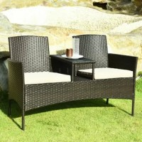 Enjoy outdoor leisure time with this patio conversation set. Featuring rugged structure and high-quality PE rattan, this patio furniture set is built to stand up to harsh weather conditions and great for outdoor use. In addition, this patio set comes with a coffee table between 2 seats that provide enough space for books and cups. And this patio set is more practical than a traditional loveseat sofa and more space-saving than a 3-piece patio furniture set. Besides, wide armrest and curved...